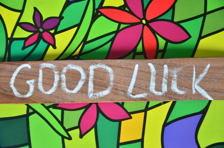 WORD GOOD LUCK Stockfoto