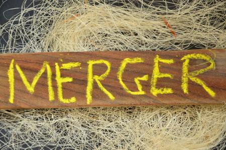 WORD MERGER Stock Photo
