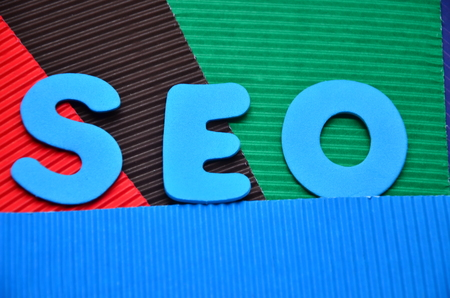 word seo on an abstract background Stok Fotoğraf