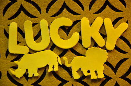 Lucky word on an abstract background Stock Photo