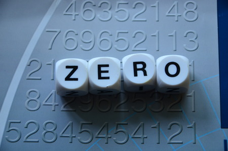 word zero on an abstractly colored background