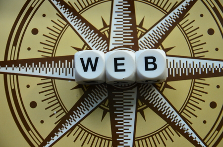 web on an abstract colored background