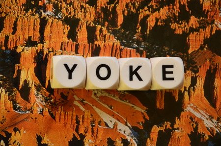 word yoke on an abstractly colored background