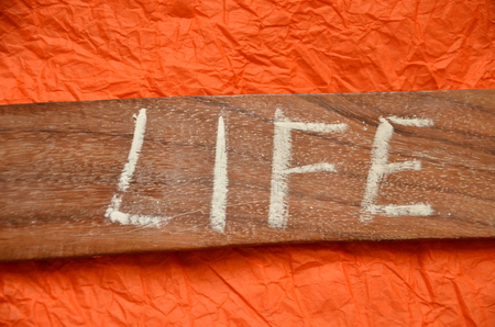 word life on an abstract orange background