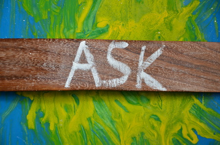 word ask on an abstract background Stock Photo