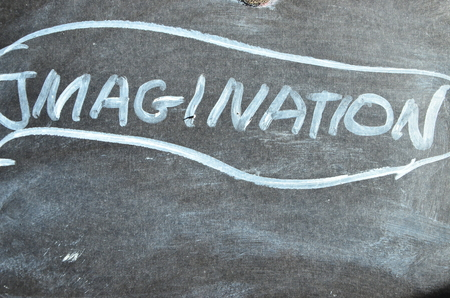 word imagination on an abstract background