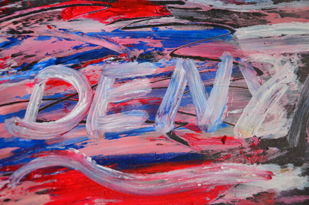 Word deny on an abstract background Stok Fotoğraf