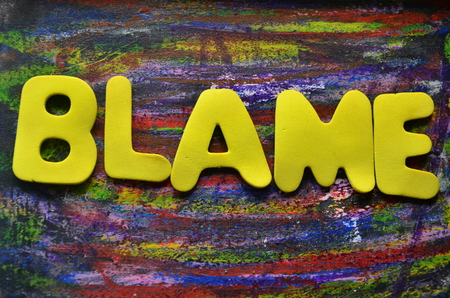 Word blame on an abstract background Stock Photo