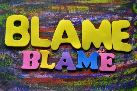 Word blame on an abstrsact background