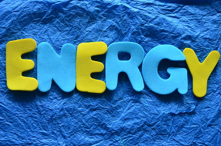 word energy on an blue background