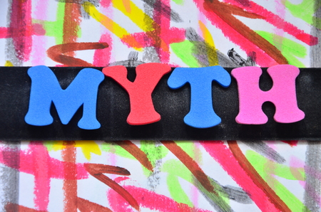word myth on an abstract background
