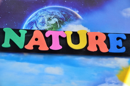 word nature on an abstract background 版權商用圖片 - 105572254