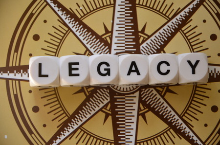 Word legacy on an abstract background Standard-Bild - 105776666