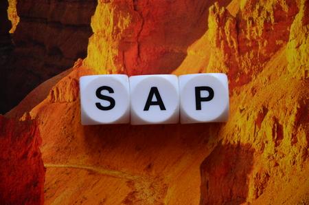 word sap on an abstract background Фото со стока