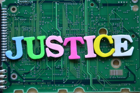 WORD JUSTICE ON AN ABSTRACT BACKGROUND 스톡 콘텐츠