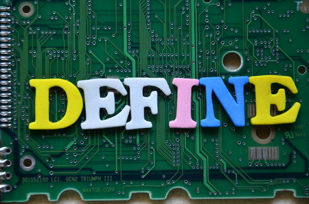 word defin e on an abstract background