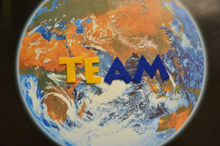 Word team on an abstract background Foto de archivo