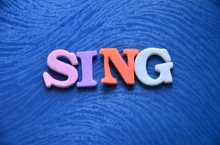 WORD SING ON AN ABSTRACT BACKGROUND Stock Photo - 106288593
