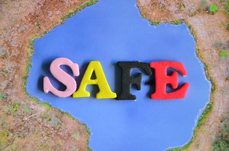 word safe on an absytract background