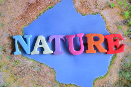 word nature on an abstract background