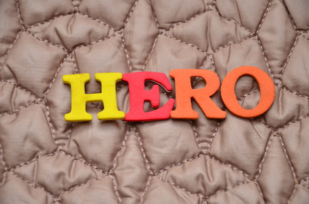 word hero on an abstract background