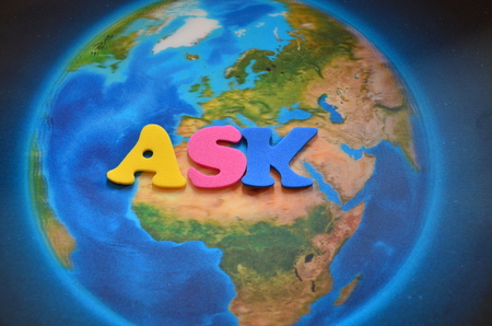 word ask on an abstract background 版權商用圖片