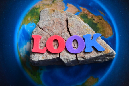 Word look on an abstract background