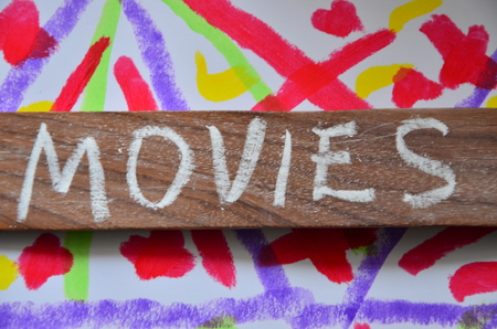 word movies on an abstract background Standard-Bild