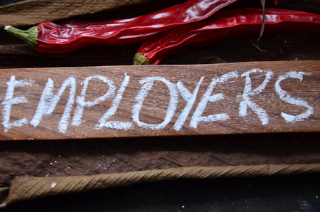 word employers on a wood plank with dry chillies on top Banco de Imagens - 107293981