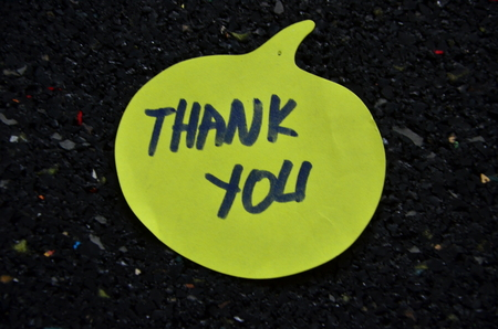 word thank you on an abstract background Stock Photo