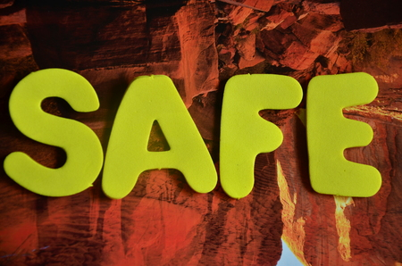word safe on an abstract background