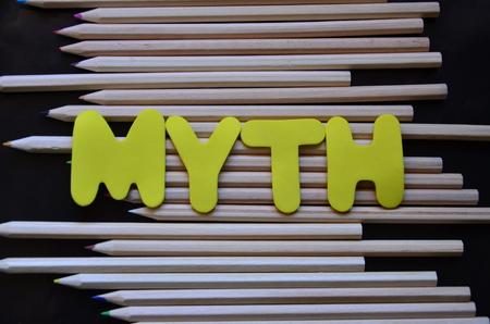word myth with black BACKGROUND Stok Fotoğraf
