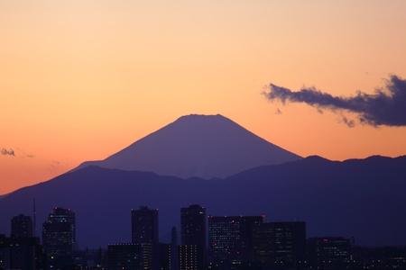 japanese famous mountain, mt. fuji at dusk