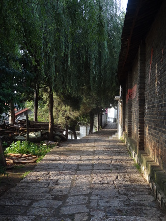 green walls: Early morning, warm sun through the trees, quietly shining stone path and green walls. Stock Photo
