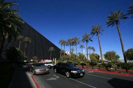 Road with cars next to Luxor Hotel, Las Vegas Editorial
