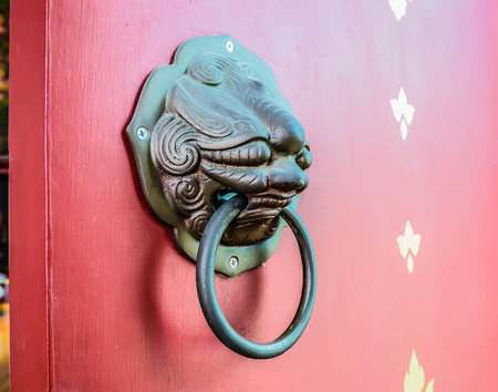 Entrance door handles at the  temple photo