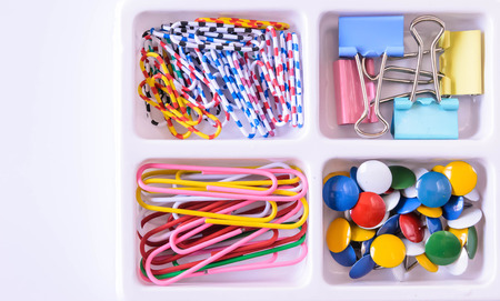 stationery set: colorful of paper clips and pushpin in stationery set