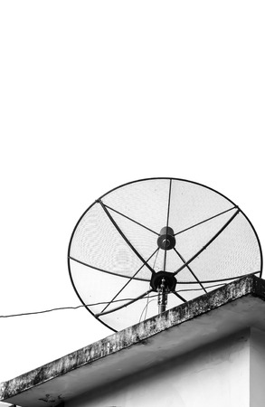 satellite dish on the building  with sky background photo