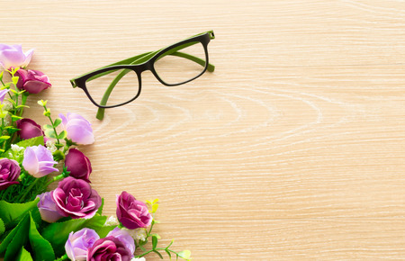 pair of glasses on wooden table. take a break photo