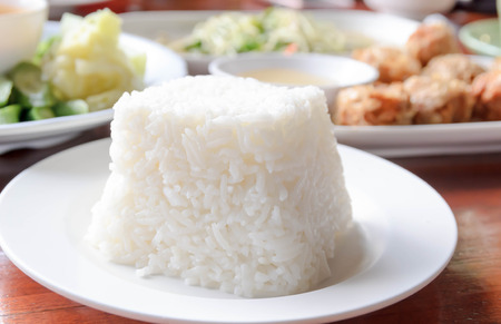 white rice  served in a restaurant photo