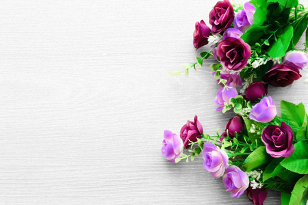 colorful pink and purple roses. space for your message. invitation design for your occasion photo