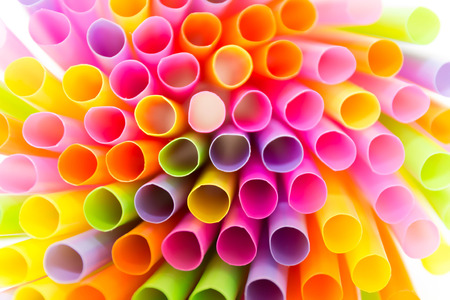 rainbow cocktail: Bright colors of straws Stock Photo