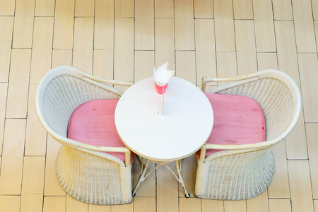 dinning table: cute dinning table set made from rattan Stock Photo