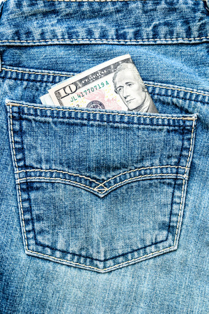 Dollars in jeans  pocket photo