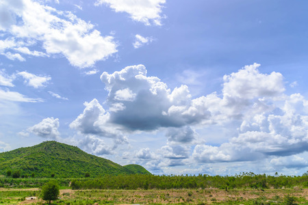 huahin: Summer landscape with mountain and  blue sky with clouds  at huahin,Thailand