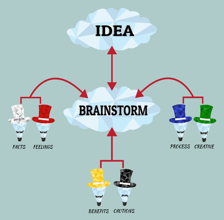 Brainstorm. Low poly brainstorm. Point of view with thinking theory