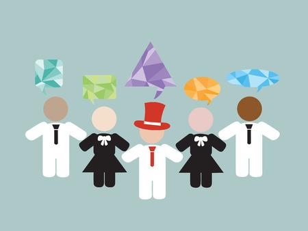 business communication: Business communication with leadership and teamwork Illustration