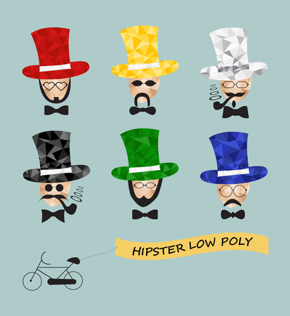 Hipster Man. Low poly hipster character Vector