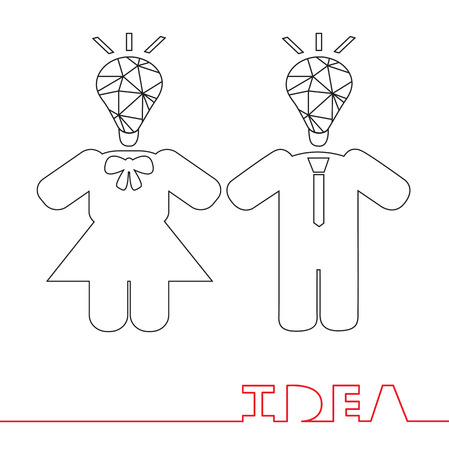line drawings: Ideas concept of simple line drawings Illustration