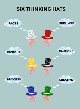 Low poly thinking man. Create polygon character thinking man. Theory six thinking hats. Illustration